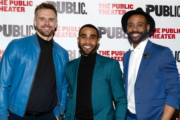 <p><em>Joan of Arc</em> Stars Adam Perry, Jonathan Burke, and James Brown III were excited about opening night.</p><br />(© Tricia Baron)