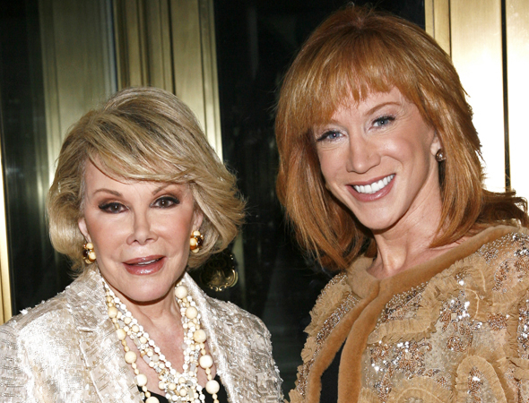 <p>Joan Rivers attends a fancy event with her pal Kathy Griffin in 2009.</p><br />(© Joseph Marzullo/WENN)
