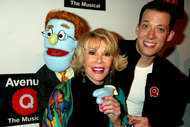 <p>Joan Rivers gets a hug from John Tartaglia and Rod.</p><br />(© Joseph Marzullo)