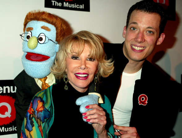 <p>Joan Rivers gets a hug from Rod and John Tartaglia at the Broadway opening of <em>Avenue Q</em> in 2003.</p><br />(© Joseph Marzullo/Retna)