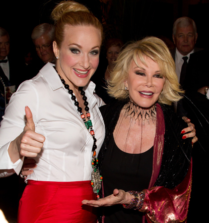 <p>Joan Rivers gives Katie Finneran her seal of approval at the opening of <em>Promises, Promises</em> in 2010.</p><br />(© Tristan Fuge)
