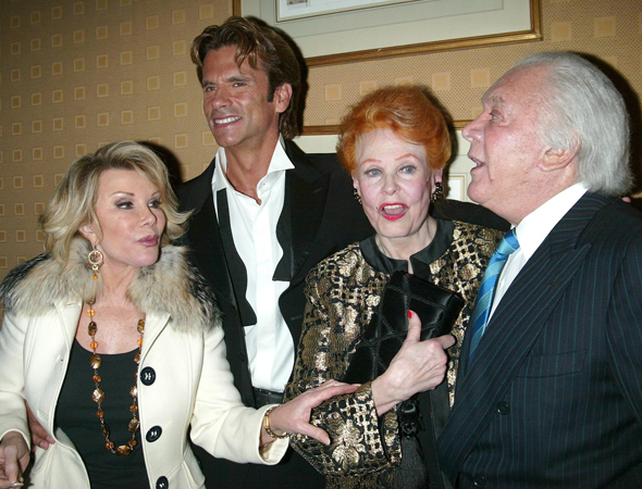<p>Joan Rivers has a chat with producer Marty Richards (right) and film star Arlene Dahl while celebrating the cabaret debut of Lorenzo Lamas (second from left) at Feinstein&#39&#x3B;s at the Regency in 2006.</p><br />(© Joseph Marzullo/Retna)