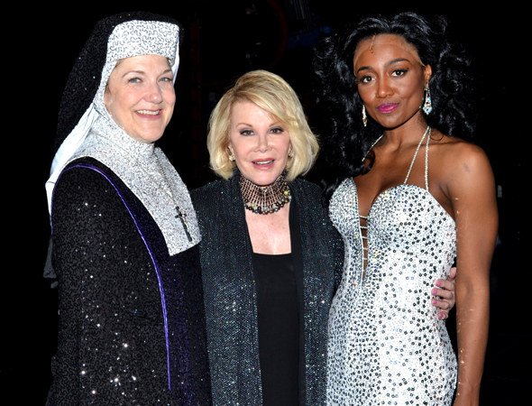 <p>Joan Rivers visits Victoria Clark (left) and Patina Miller backstage at <em>Sister Act</em> at the Broadway Theatre in 2011.</p><br />(© David Gordon)