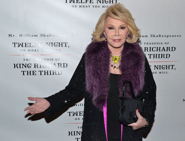 <p>Joan Rivers welcomes one and all to the opening-night performance.</p><br />(© David Gordon)