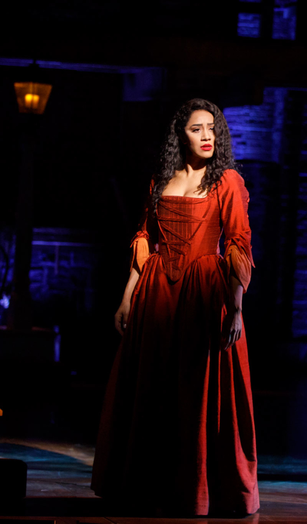 <p>Joanna A. Jones plays Peggy Schuyler and Maria Reynolds.</p><br />(© Joan Marcus)