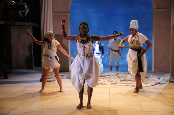 <p>Joaquina Kalukango (center) performs a scene from the new adaptation of Shakespeare&#39&#x3B;s play.</p><br />(© Joan Marcus)