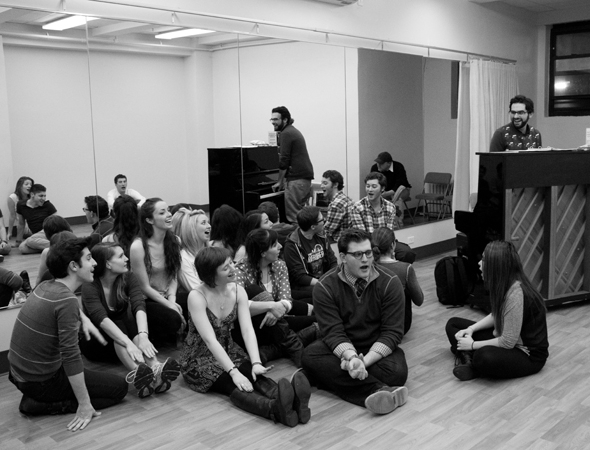 <p>Joe Iconis leads the ensemble in a vocal warm-up.</p><br />(© David Gordon)