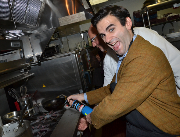 <p><strong>Joe Iconis Pro Tip</strong>: Don&#39&#x3B;t use a blow torch to light your stove at home.</p><br />(© David Gordon)