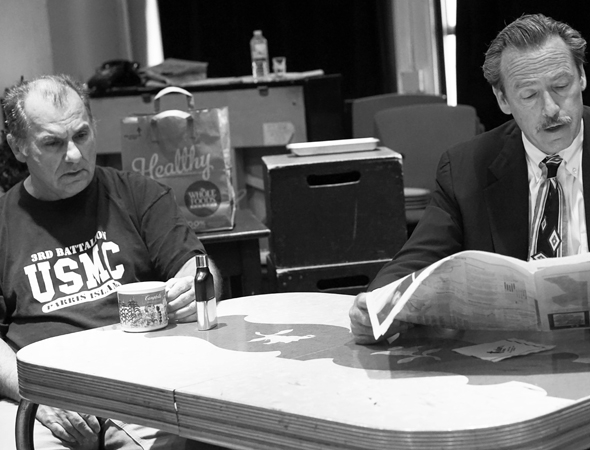 <p>Joe Lisi and James McCaffrey rehearse a scene from <em>Almost Home</em>.</p><br />(© Leah Michalos)