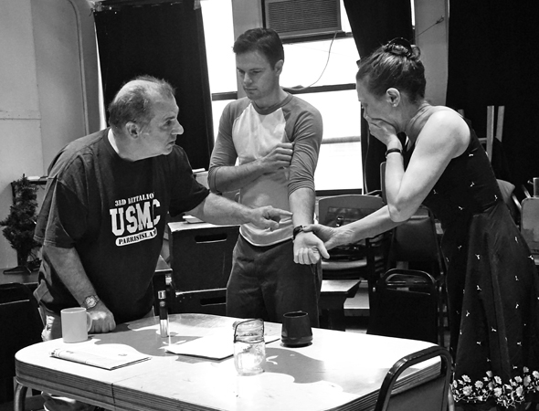 <p>Joe Lisi, Jonny Orsini, and Karen Ziemba share a moment in rehearsal.</p><br />(© Leah Michalos)