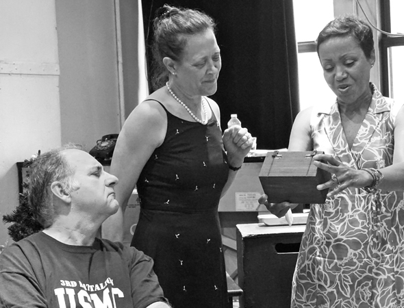 <p>Joe Lisi, Karen Ziemba, and Brenda Pressley share a moment.</p><br />(© Leah Michalos)