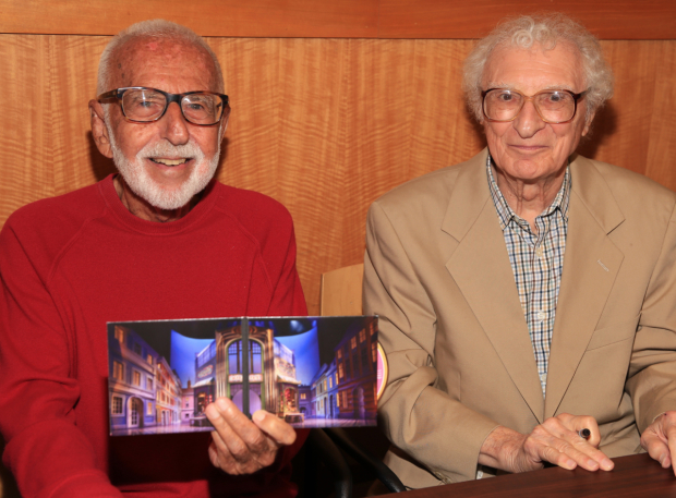 <p>Joe Masteroff and Sheldon Harnick proudly hold up the <em>She Loves Me</em> CD booklet.</p><br />(© Tricia Baron)