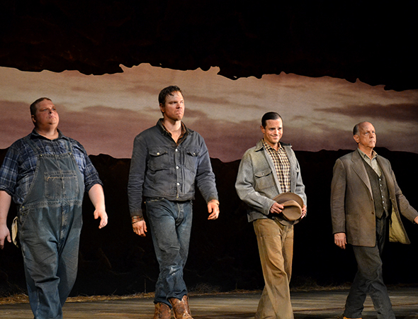 <p>Joel Marsh Garland, Jim Parrack, James McMenamin, and Jim Ortlieb take their bows.</p><br />(© David Gordon)