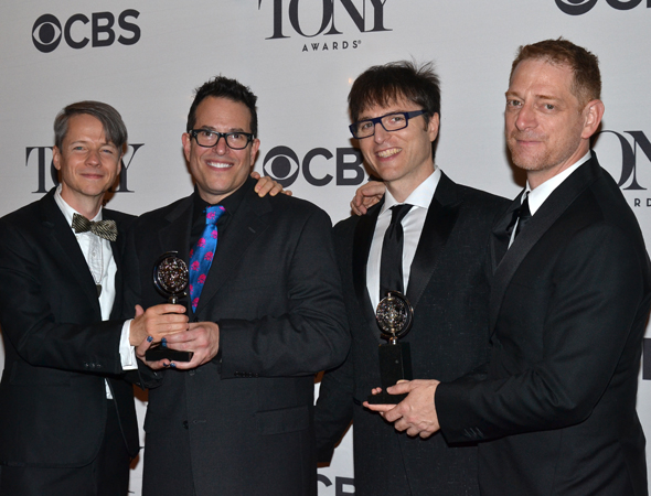 <p>John Cameron Mitchell, Michael Mayer, Stephen Trask, and David Binder, the creative team behind the Best Musical Revival winner, <em>Hedwig and the Angry Inch</em>.</p><br />(© David Gordon)