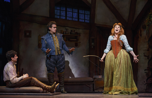 <p>John Cariani, Brian d&#39&#x3B;Arcy James and Heidi Blickenstaff lead the cast of <em>Something Rotten!</em></p><br />(© Joan Marcus)