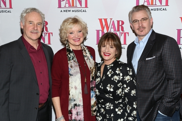 <p>John Dossett, Christine Ebersole, Patti LuPone, and Douglas Sills reunite for <em>War Paint</em> on Broadway after their previous engagement at Chicago&#39&#x3B;s Goodman Theatre.</p><br />(© Tricia Baron)