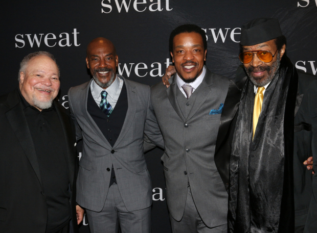 <p>John Earl Jelks (second from left) celebrates his opening night with fellow August Wilson-play veterans Stephen McKinley Henderson, Russell Hornsby, and Anthony Chisholm.</p><br />(© David Gordon)