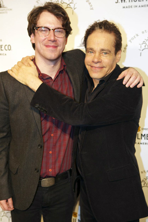<p>John Gallagher Jr. shares a hug with his <em>Spring Awakening</em> coauthor, Steven Sater.</p><br />(© Christopher Gower Johnson)