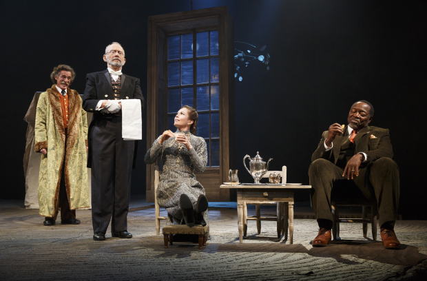 <p>John Glover, Joel Grey, Diane Lane, and Chuck Cooper in <em>The Cherry Orchard</em>.</p><br />(© Joan Marcus)