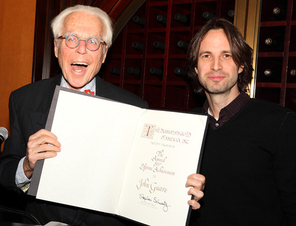 <p>John Guare is thrilled to have received this year&#39&#x3B;s Lifetime Achievement Award, presented by Daniel Goldfarb.</p><br />(© Douglas Gorenstein)