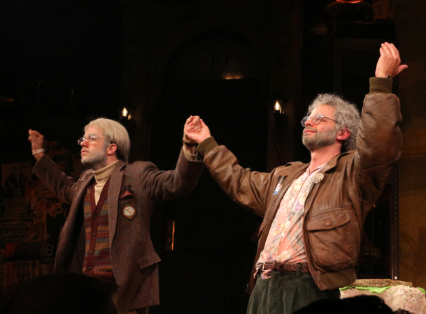 <p>John Mulaney and Nick Kroll take their bows as Gil Faizon and George St. Geegland in <em>Oh, Hello on Broadway</em>.</p><br />(© David Gordon)