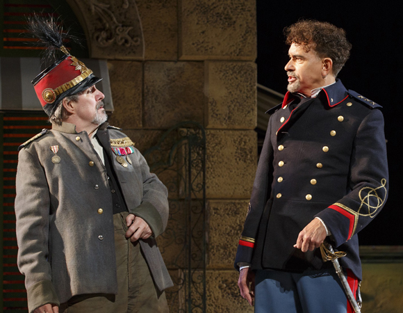 <p>John Pankow as Dogberry and Brian Stokes Mitchell as Don Pedro in <em>Much Ado About Nothing</em>.</p><br />(© Joan Marcus)