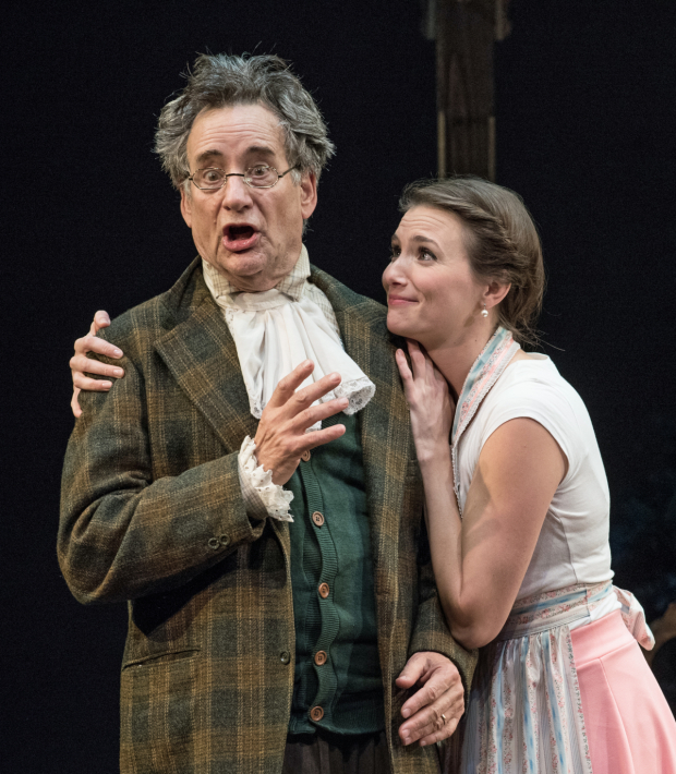 <p>John Rothman as Mr. Hardcastle and Mairin Lee as Kate Hardcastle in a scene from <em>She Stoops to Conquer</em>.</p><br />© Marielle Solan