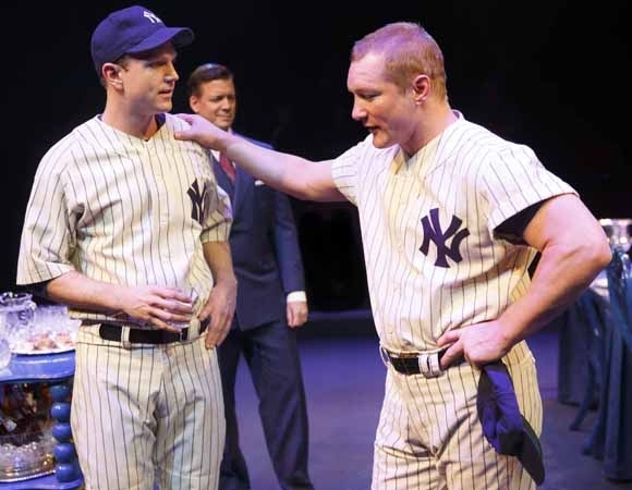 <p>John Wernke depicts Lou Gehrig while Bill Dawes takes on the dual roles of Mickey Mantle and Thurman Munson.</p><br />(© Joan Marcus)