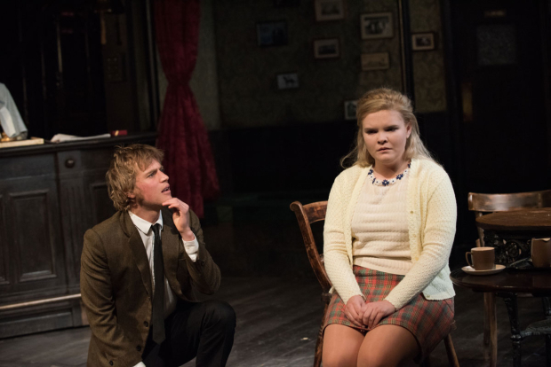 <p>Johnny Flynn and Gaby French share a scene.</p><br />(© Ahron R. Foster)
