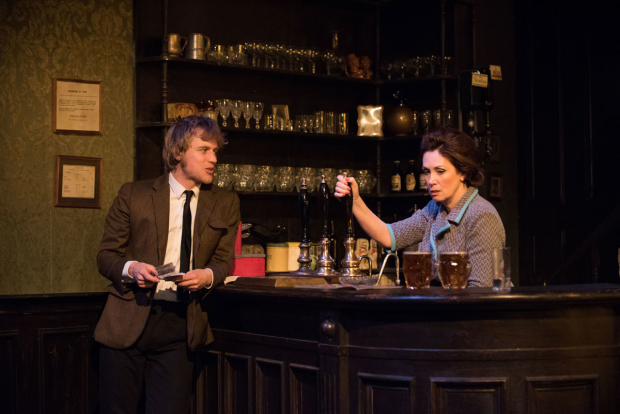 <p>Johnny Flynn and Sally Rogers share a scene.</p><br />(© Ahron R. Foster)