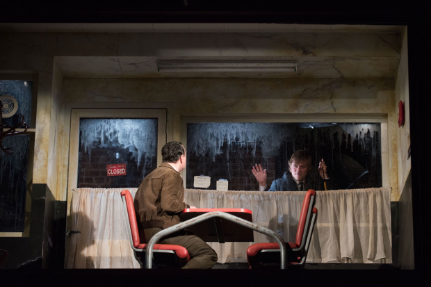 <p>Johnny Flynn looks in on Reece Shearsmith (sitting).</p><br />(© Ahron R. Foster)
