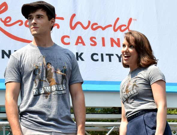 <p>Joined by costar Corey Cott, Kara Lindsay brings <em>Newsies</em> to Broadway in Bryant Park in the summer of 2012.</p><br />(© David Gordon)