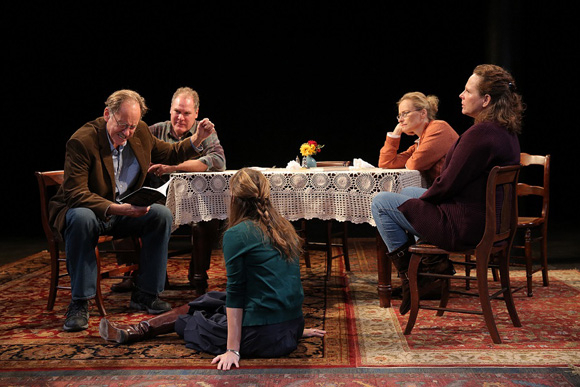 <p>Jon DeVries, Jay O. Sanders, Sally Murphy, Laila Robins, and Maryann Plunkett gather around the dining room table.</p><br />(© Joan Marcus)