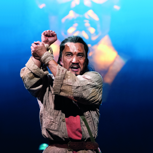 <p>Jon Jon Briones commands the stage.</p><br />(© Matthew Murphy)