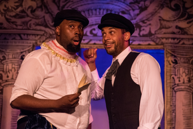 <p>Jonathan Bethea as Valentine and Alex Nicholson as Speed in TP&amp&#x3B;co&#39&#x3B;s <em>The Two Gentlemen of Verona</em>.</p><br />(© Kelly Marsh)