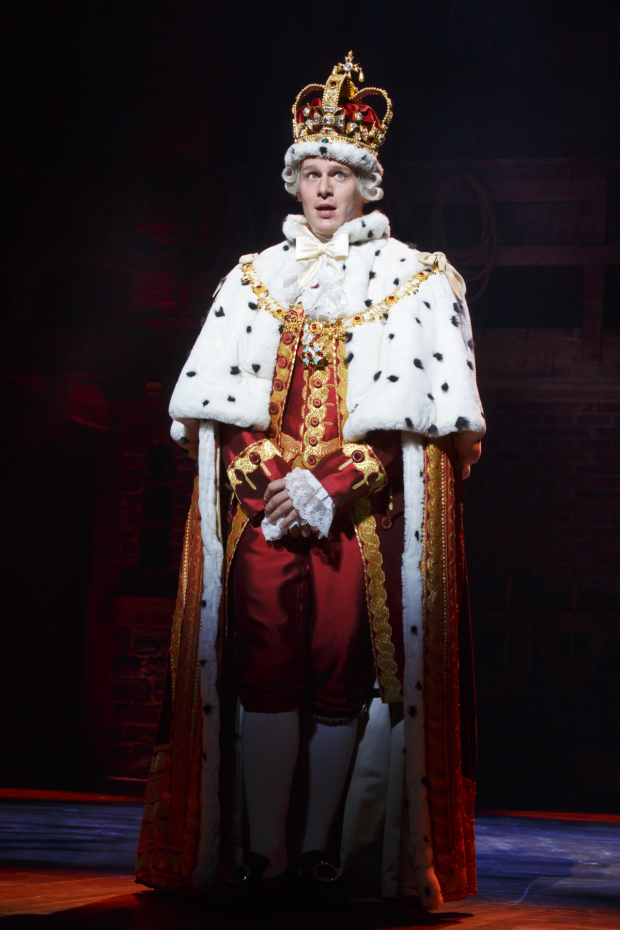 <p>Jonathan Groff is King George.</p><br />(© Joan Marcus)