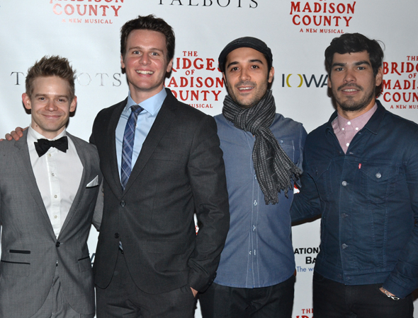 <p>Jonathan Groff (second from left) joins his <em>Looking</em> costars Andrew Keenan-Bolger, Frankie Alvarez, and Raúl Castillo for a night at the theater.</p><br />(© David Gordon)