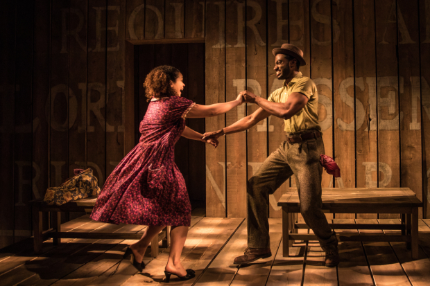 <p>Jordan Tyson and Jelani Alladin dance together.</p><br />(© Matthew Murphy)