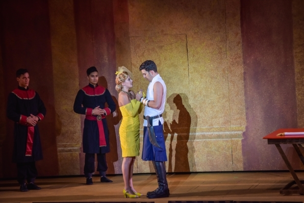 <p>Jose-Luis Lopez, Daryl Tofa,Taylor Louderman, and Zak Resnick share the stage.</p><br />(courtesy of The Muny)