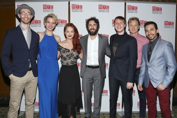 <p>Josh Groban (center) takes a photo with his <em>Great Comet</em> costars.</p><br />(© Tricia Baron)