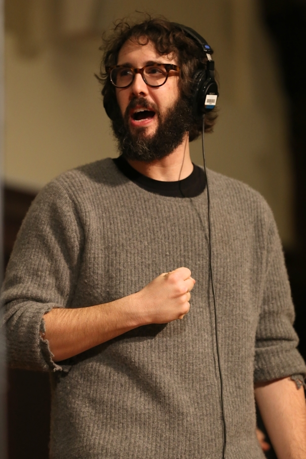 <p>Josh Groban, who stars as Pierre, singing his part during the cast recording session.</p><br />(© Tricia Baron)