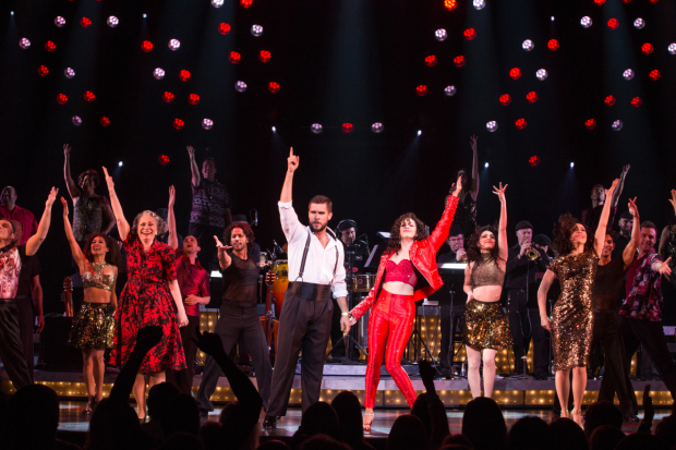 <p>Josh Segarra and Ana Villafañe (center) lead the cast of <em>On Your Feet!</em></p><br />(© Matthew Murphy)
