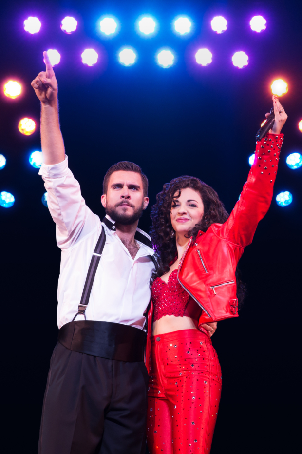 <p>Josh Segarra and Ana Villafañe star as Emilio and Gloria Estefan in <em>On Your Feet!</em></p><br />(© Matthew Murphy)