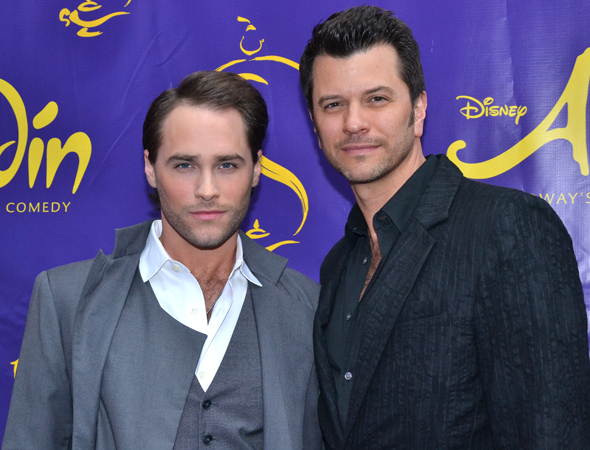 <p>Josh Strickland, who starred as Tarzan for Disney on Broadway, arrives for <em>Aladdin</em> with his husband, Todd Dubail.</p><br />(© David Gordon)