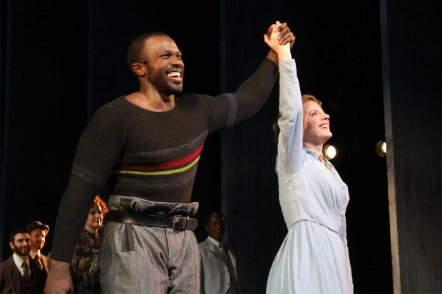<p>Joshua Henry and Jessie Mueller take a bow as <em>Carousel</em> opens on Broadway.</p><br />(© David Gordon)