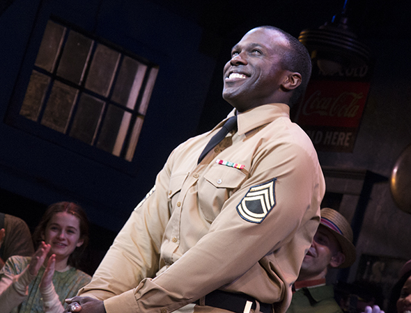 <p>Joshua Henry beams as he takes his curtain call.</p><br />(© David Gordon)