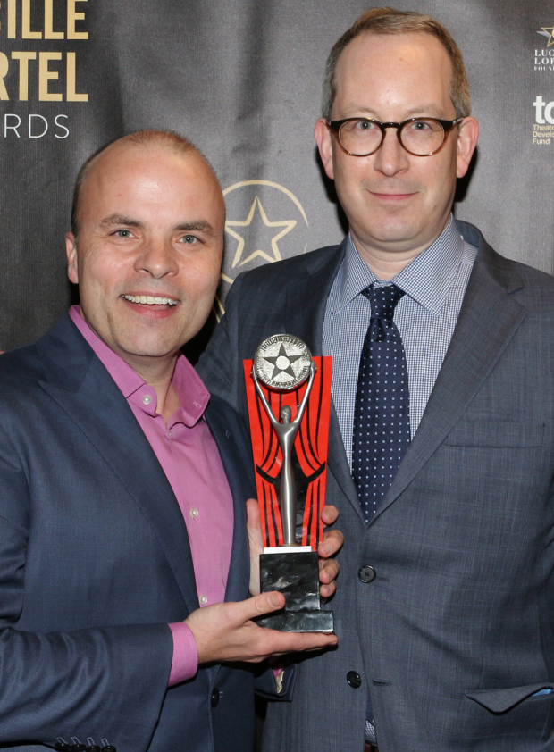 <p>J.T. Rogers, Best Play recipient for <em>Oslo</em>, with Lincoln Center Theater managing director Adam Siegel.</p><br />(© David Gordon)