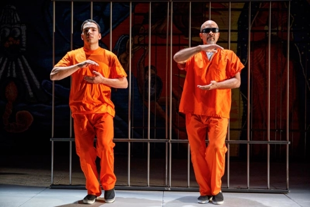 <p>Juan Castano and Julio Monge find their zen.</p><br />(© Joan Marcus)