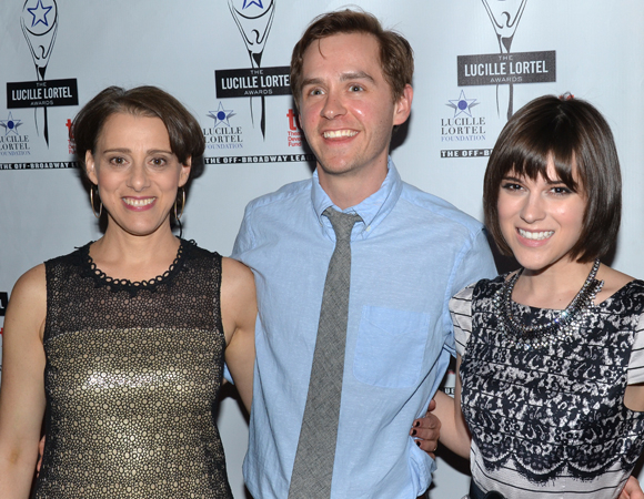<p>Judy Kuhn, who received the Best Actress in a Musical award for her performance in <em>Fun Home</em> poses with her fellow <em>Fun Home</em> nominees, choreographer Danny Mefford and actress Alexandra Socha.</p><br />(© David Gordon)