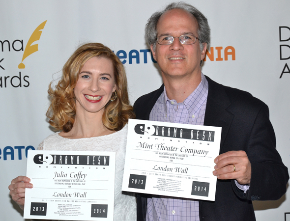 <p>Julia Coffey and Jonathan Bank — Outstanding Featured Actress in a Play and Outstanding Revival nominees for Mint Theatre&#39&#x3B;s <em>London Wall</em>.</p><br />(© David Gordon)